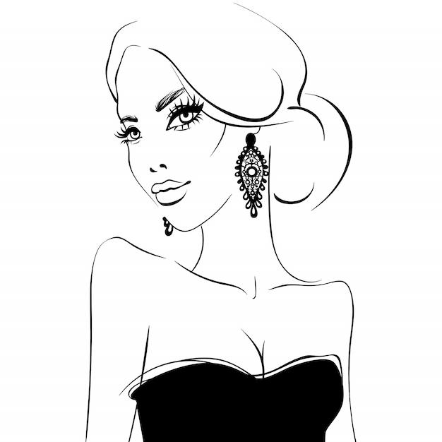 Visage de belle fille. portrait de modèle de beauté Vecteur Premium