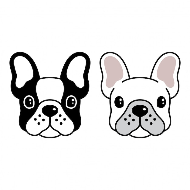 Visage de bulldog Vecteur Premium