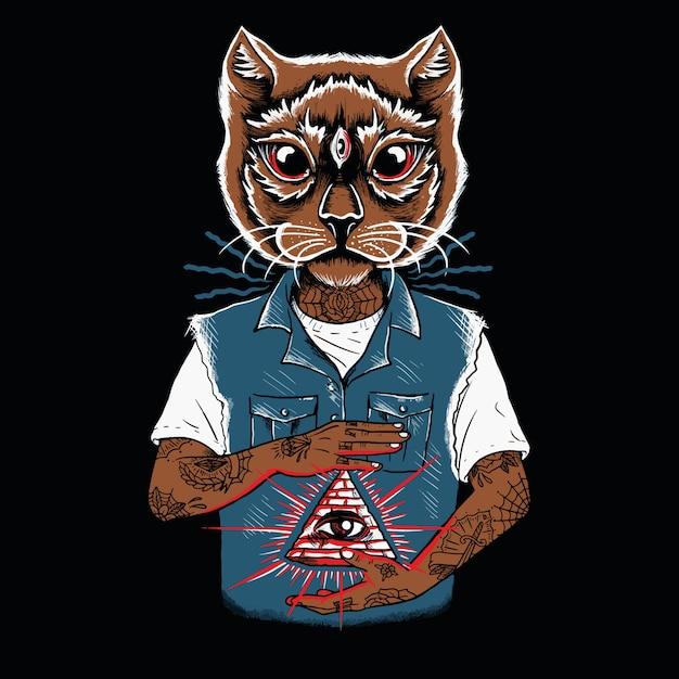 Visage de chat illuminé personnage tatoué Vecteur Premium