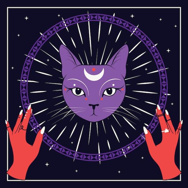 Visage de chat violet avec la lune sur le ciel nocturne avec cadre rond ornemental. mains rouges Vecteur Premium