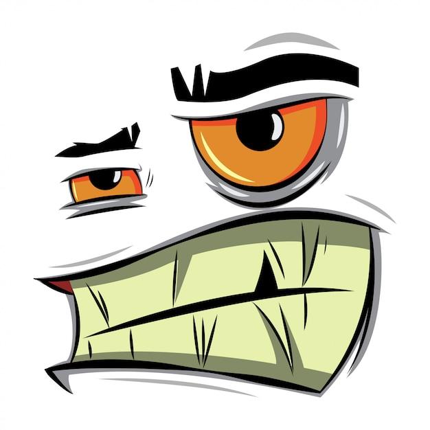 Visage de dessin animé en colère Vecteur Premium