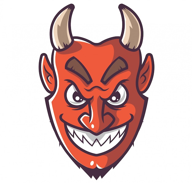 Visage de diable souriant. Vecteur Premium