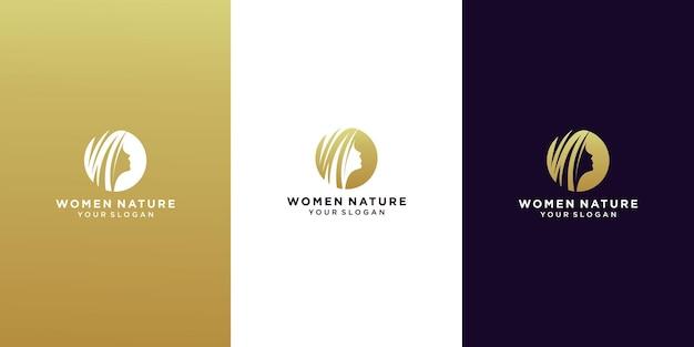 Visage De Femme Et Logo De Salon De Feuille De Cheveux Vecteur Premium