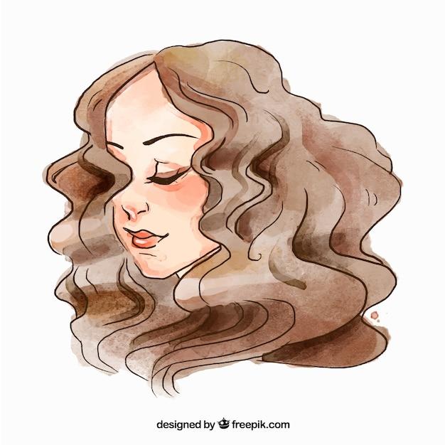 Visage de femme de mode avec des cheveux bouclés Vecteur gratuit
