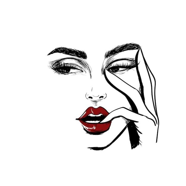 Visage de femme regardant à gauche avec un doigt dans la bouche Vecteur Premium