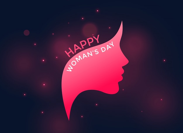 Visage de femme rose pour la journée des femmes heureux Vecteur gratuit