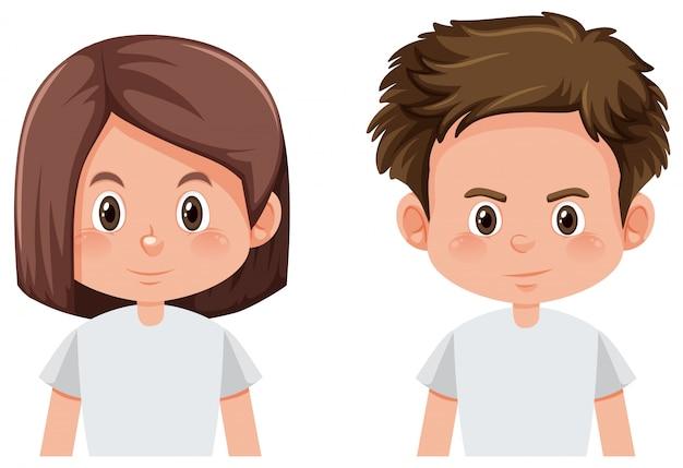 Visage garçon et fille Vecteur gratuit