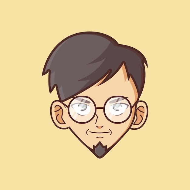Visage de garçon geek Vecteur Premium