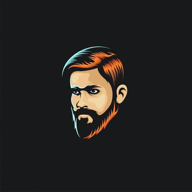 Visage homme cheveux couleur logo ilustration Vecteur Premium