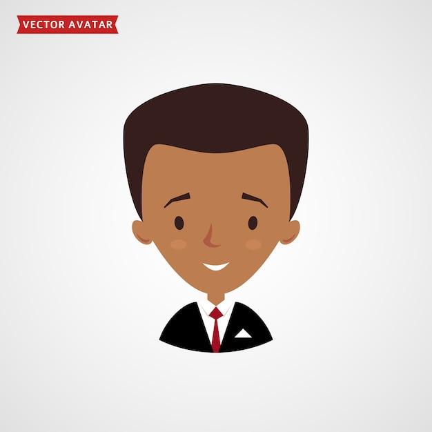 Visage D'homme Noir. Avatar De L'homme D'affaires. Vecteur Premium