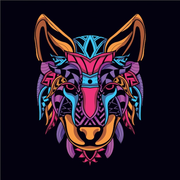 Visage de loup décoratif de couleur néon Vecteur Premium