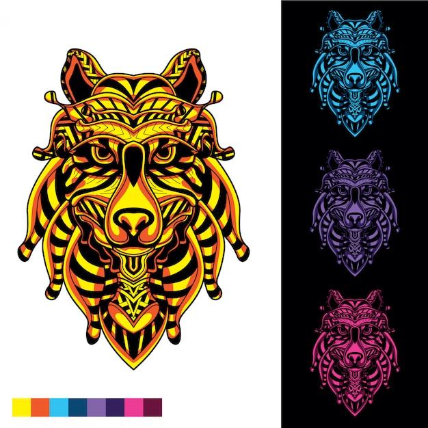 Visage de loup de motif décoratif mis briller dans le noir Vecteur Premium