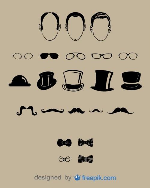 Visage de messieurs et ensemble de design de mode Vecteur gratuit