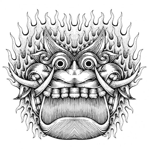 Visage de monstre effrayant, illustration abstraite dessiné à la main, style javanais Vecteur Premium