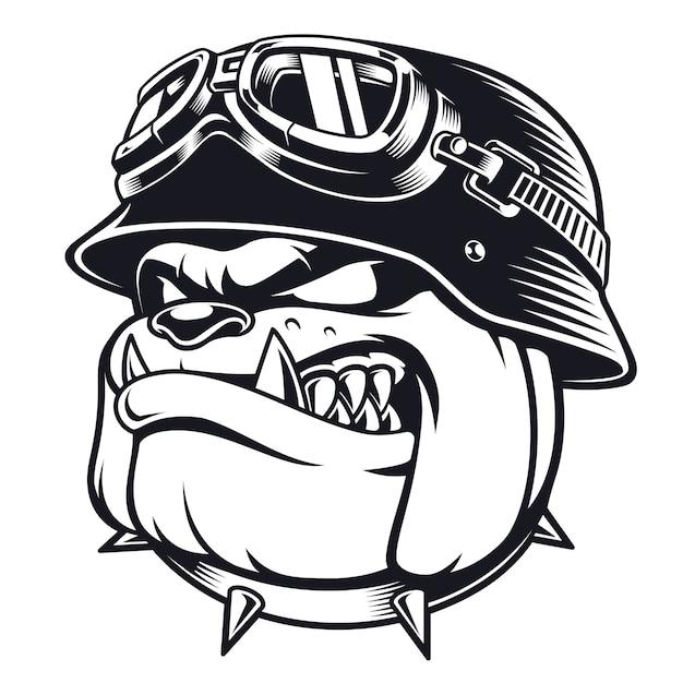 Visage De Motard Bulldog Avec Casque. Illustration De Pilote De Moto. Graphiques De Chemise. Sur Fond Blanc. Vecteur Premium