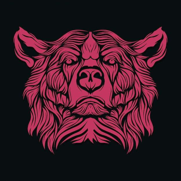 Visage d'ours Vecteur Premium