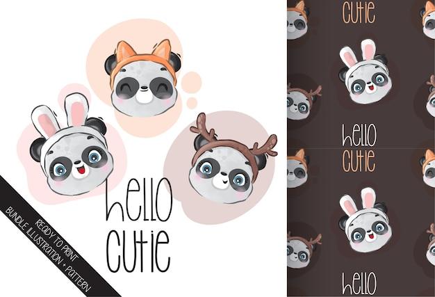 Visage De Panda Bébé Animal Mignon Avec Modèle Sans Couture De Chapeau Mignon Vecteur Premium