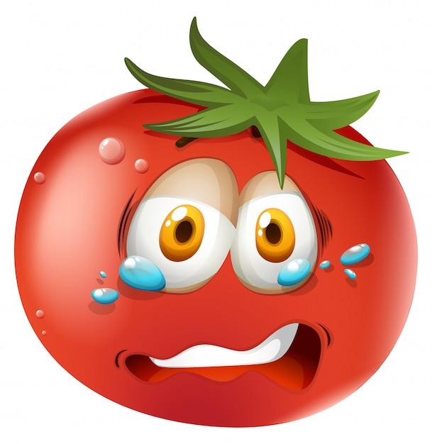 Visage qui pleure sur la tomate Vecteur gratuit