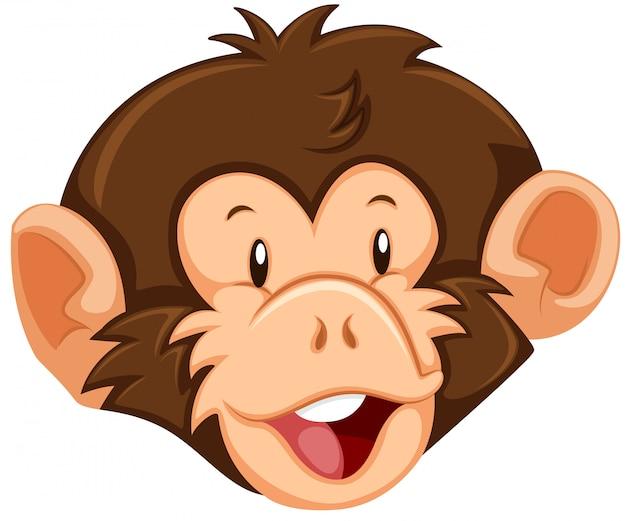 Un visage de singe sur fond blanc Vecteur gratuit