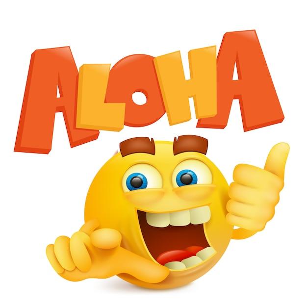 Visage souriant rond jaune avec titre aloha. Vecteur Premium
