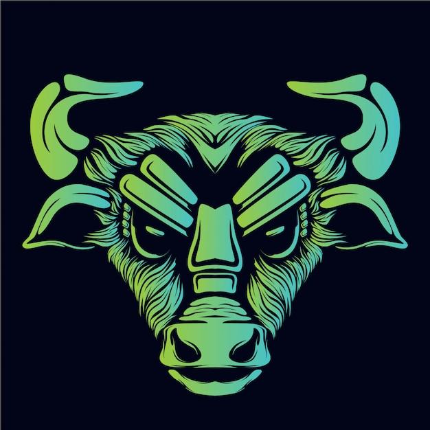 Visage de taureau en colère lueur verte Vecteur Premium