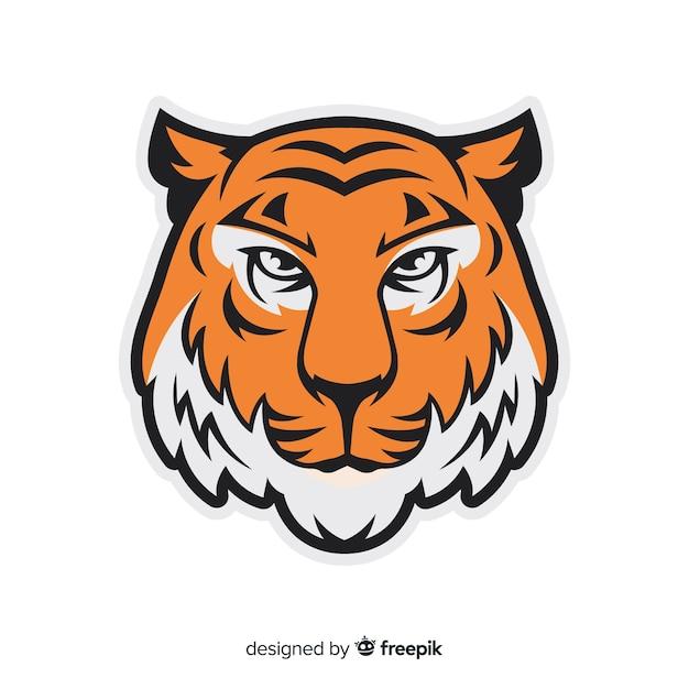 Visage de tigre Vecteur gratuit