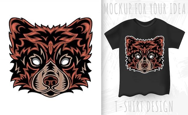 Visage vintage panda rouge. titre style vintage isolé Vecteur Premium