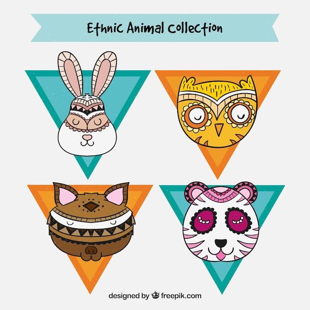 Les Visages D'animaux Avec Le Design Ethnique Vecteur gratuit