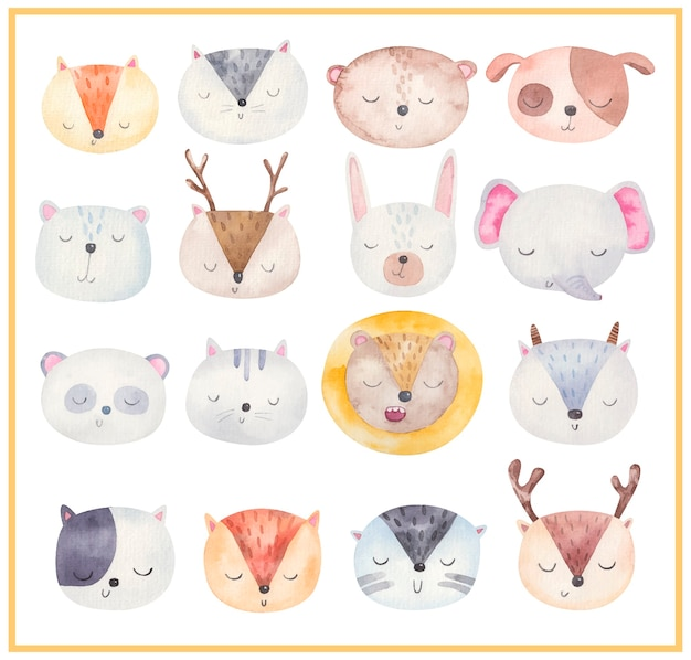 Visages D'animaux Mignons, Grand Ensemble D'illustrations à L'aquarelle, Conception Pour Enfants Vecteur Premium