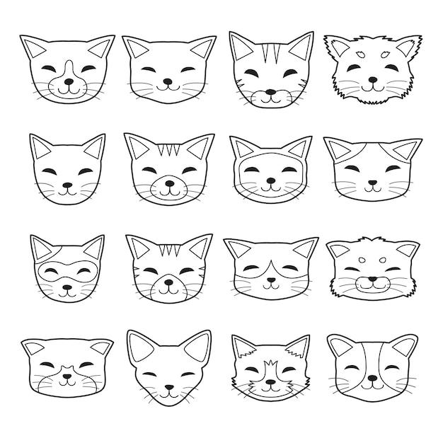 Visages de chat de type différent de dessin animé de vecteur Vecteur Premium