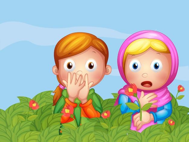 Visages choqués de deux dames dans le jardin Vecteur gratuit
