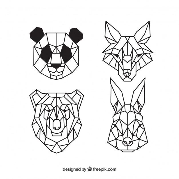 Visages d'animaux sauvages, tatouages géométriques Vecteur gratuit