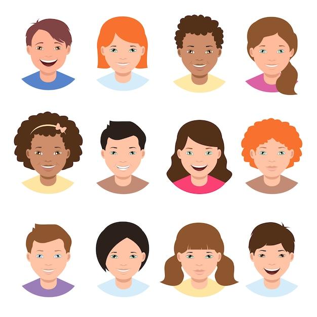 Visages différents enfants Vecteur Premium