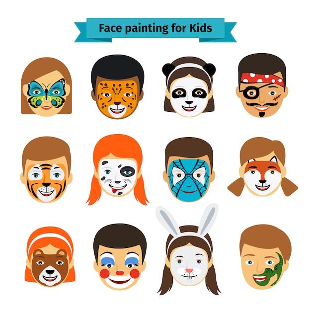 Visages d'enfants avec peinture Vecteur Premium