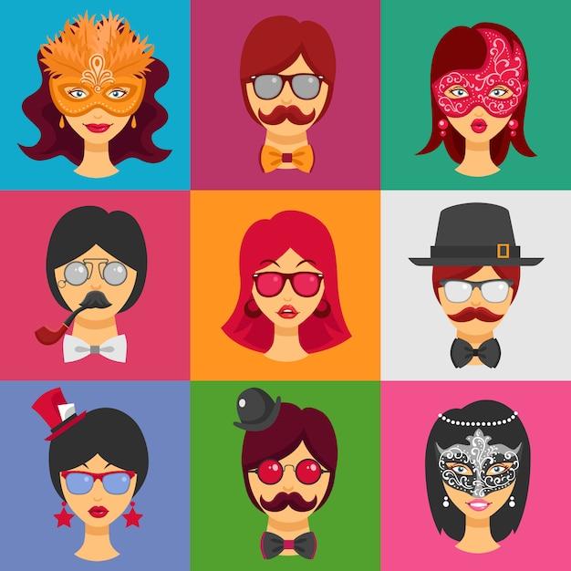 Les visages des gens dans les masques de carnaval Vecteur gratuit