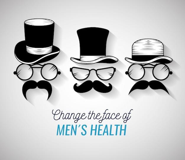 Visages D'hommes Avec Chapeau à La Mode Et Moustache Vecteur gratuit