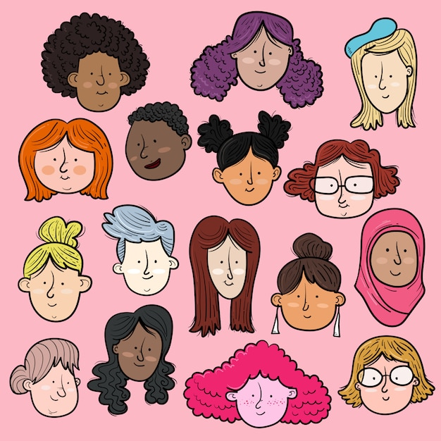 Visages internationaux et interraciaux des femmes Vecteur Premium