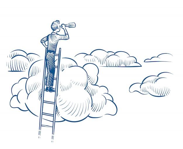 Vision D'entreprise. Homme D'affaires Avec Télescope Debout Sur Une échelle Parmi Les Nuages. Réalisations Futures Réussies Croquis Concept De Vecteur Vecteur Premium