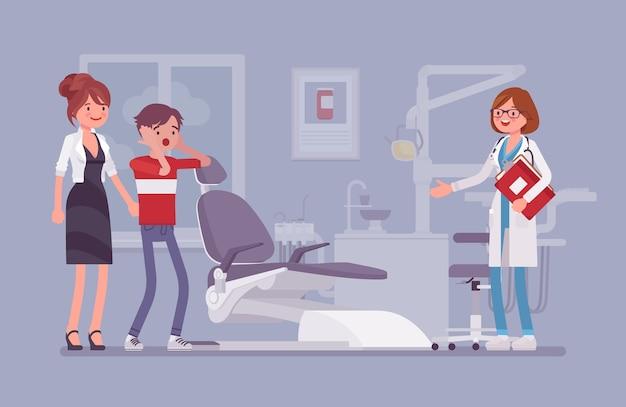 Visite Chez Le Dentiste En Version Plate Vecteur Premium