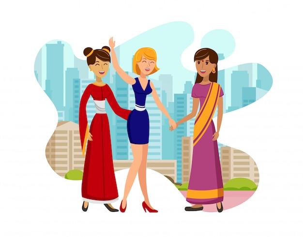 Visite internationale couleur vector illustration Vecteur Premium