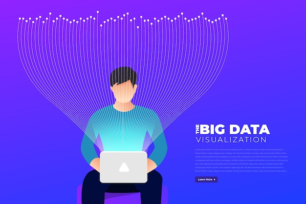 Visualisation De Big Data. Analyse De La Complexité Des Données Visuelles. Concept Infographique. Représentation Graphique De La Ligne D'information. Graphique De Données Abstraites. Illustration Vecteur Premium