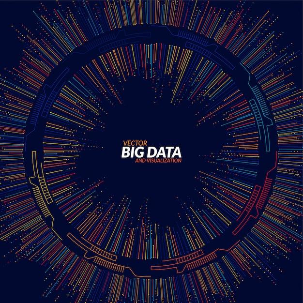 Visualisation big data. infographie futuriste. conception esthétique de l'information Vecteur Premium