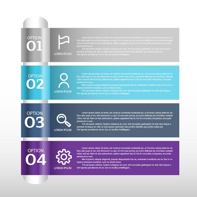 Visualisation de données commerciales. diagramme de processus. éléments abstraits de graphique, diagramme avec étapes, options, pièces ou processus Vecteur Premium