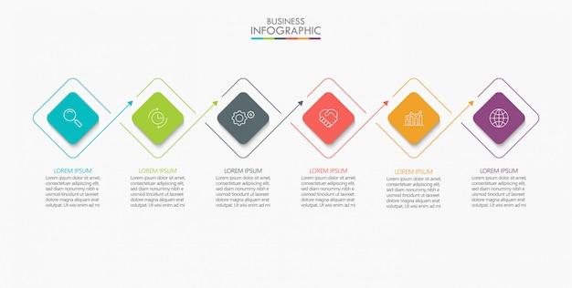 Visualisation de données commerciales. infographie de la chronologie Vecteur Premium