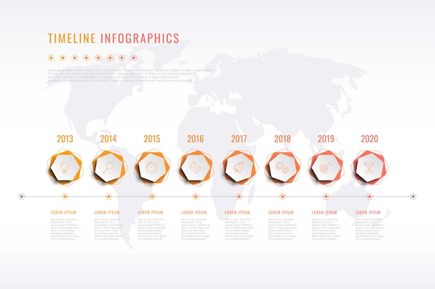 Visualisation moderne de l'histoire de l'entreprise avec éléments hexagonaux, indication de l'année et carte du monde Vecteur Premium
