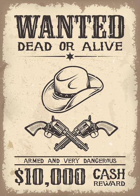 Vitage Wild West Voulait Une Affiche Avec Un Vieux Fond De Texture De Papier Vecteur gratuit