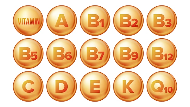 Vitamine icons set. Vecteur Premium