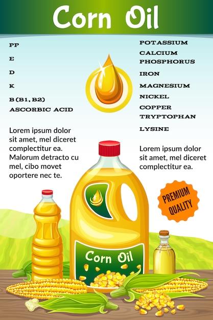 Vitamines Dans L'huile De Maïs. Vecteur gratuit