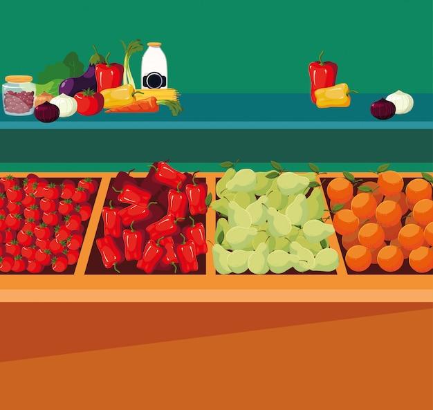 Vitrine en bois avec fruits et légumes Vecteur Premium