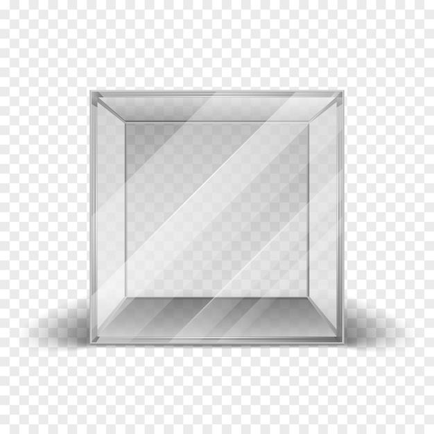 Vitrine de cube de boîte de verre propre vide isolé sur fond quadrillé. maquette propre cadre pour galler Vecteur Premium